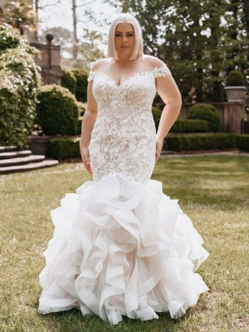 Plus-size trumpet wedding dress with off-the-shoulder cap sleeves