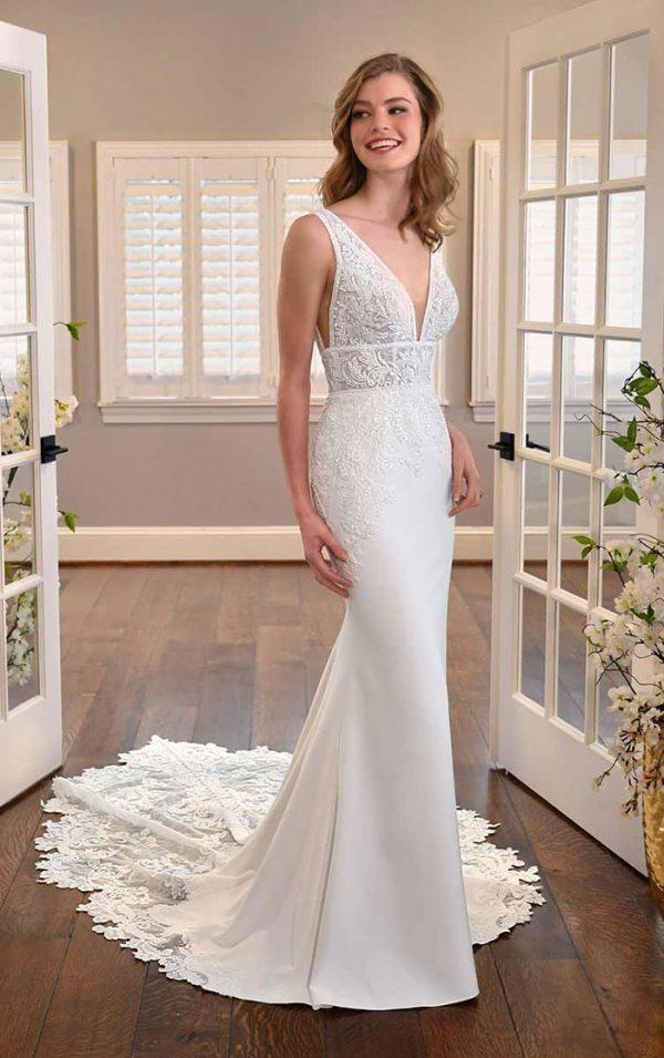 wedding-dress-sleeveless-fit-flare-Essense-D3254