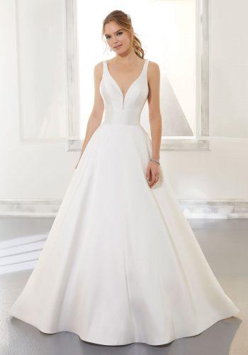 Beautiful satin sleevless A-Line wedding dress