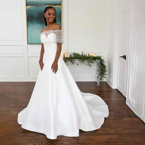 Off-the-shoulder strapless wedding gown with wrap