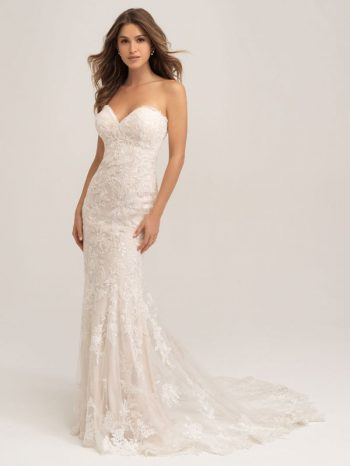 Strapless fit-and-flare wedding dress